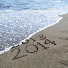 Beach front with water getting rid of 2013 and onto 2014.