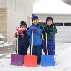 kids who have just finished shovelling the driveway