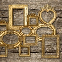 A collection of frames all painted gold.